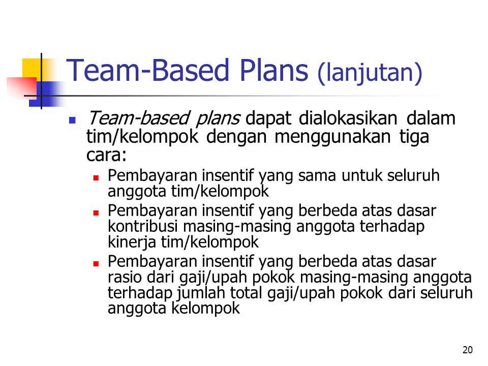 Team-Based Plans (lanjutan)