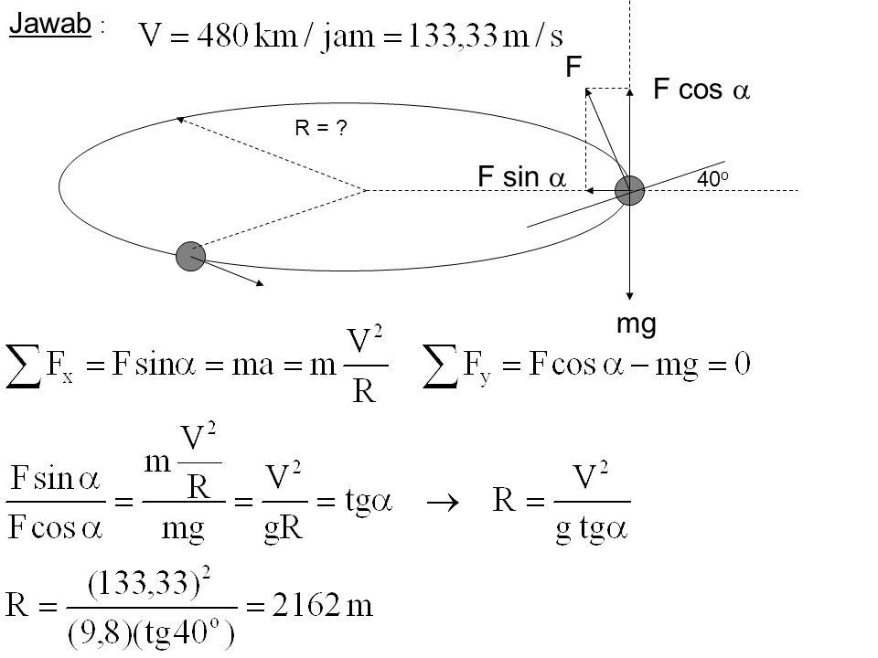 Jawab : F F cos  R = F sin  40o mg