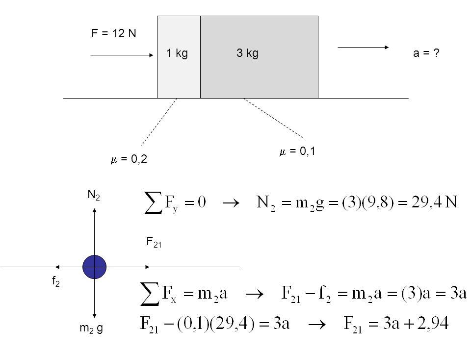  = 0,2  = 0,1 F = 12 N a = 1 kg 3 kg N2 F21 f2 m2 g