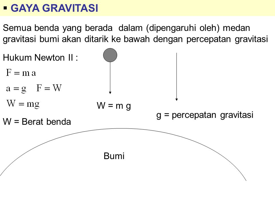 GAYA GRAVITASI Semua benda yang berada dalam (dipengaruhi oleh) medan gravitasi bumi akan ditarik ke bawah dengan percepatan gravitasi.
