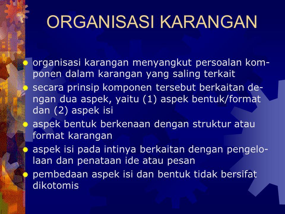 ORGANISASI KARANGAN organisasi karangan menyangkut persoalan kom-ponen dalam karangan yang saling terkait.