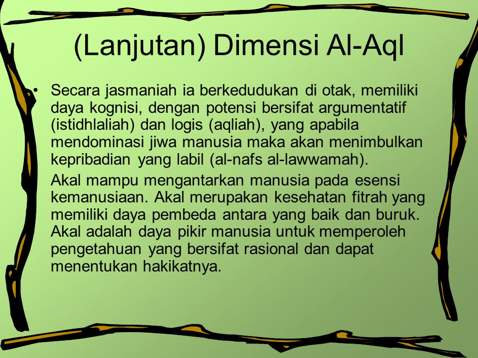 (Lanjutan) Dimensi Al-Aql