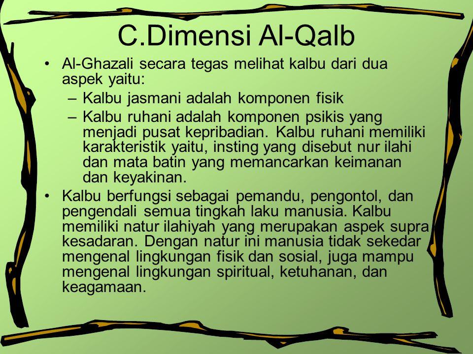 C.Dimensi Al-Qalb Al-Ghazali secara tegas melihat kalbu dari dua aspek yaitu: Kalbu jasmani adalah komponen fisik.