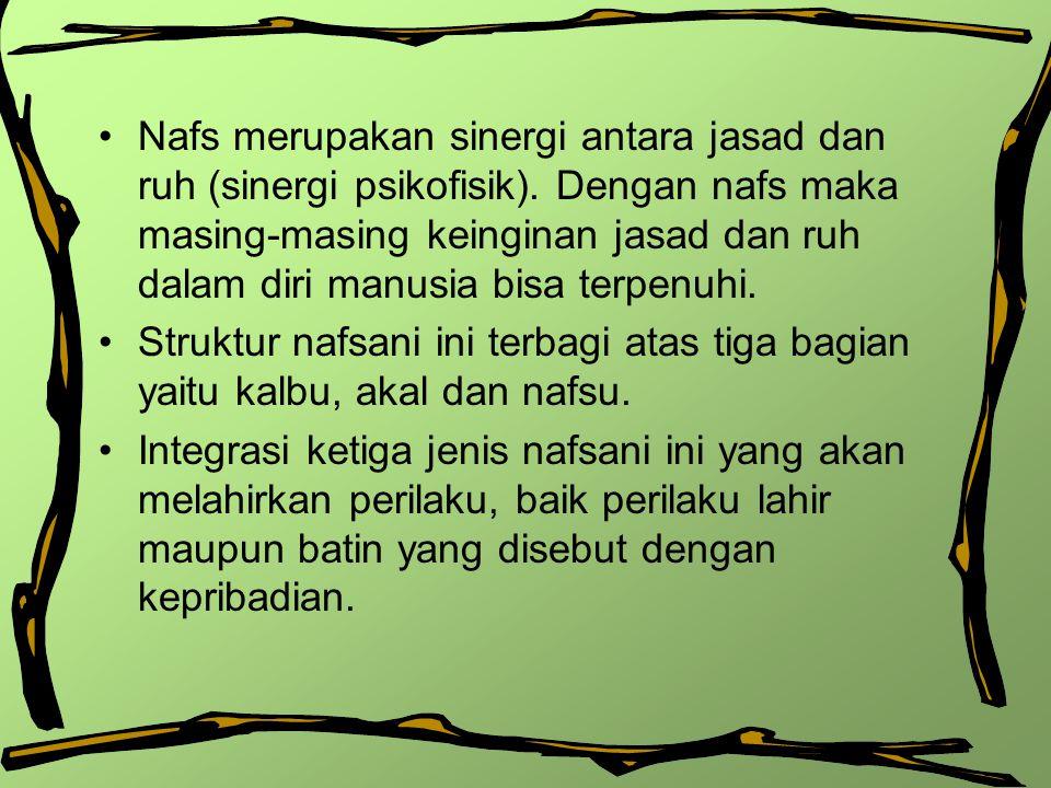 Nafs merupakan sinergi antara jasad dan ruh (sinergi psikofisik)