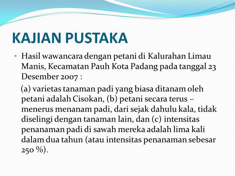KAJIAN PUSTAKA Hasil wawancara dengan petani di Kalurahan Limau Manis, Kecamatan Pauh Kota Padang pada tanggal 23 Desember 2007 :