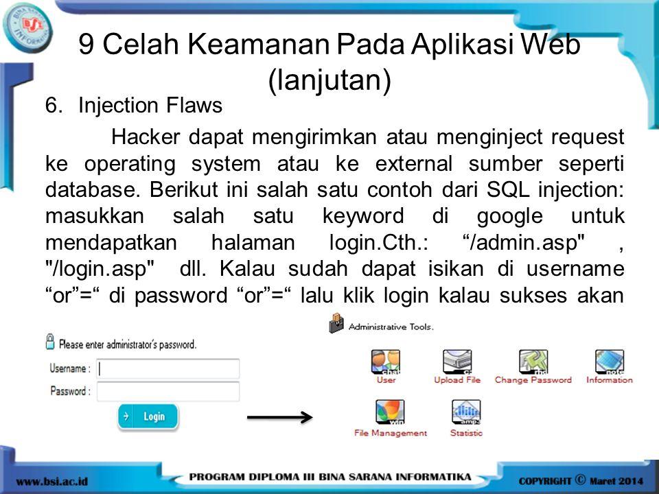9 Celah Keamanan Pada Aplikasi Web (lanjutan)