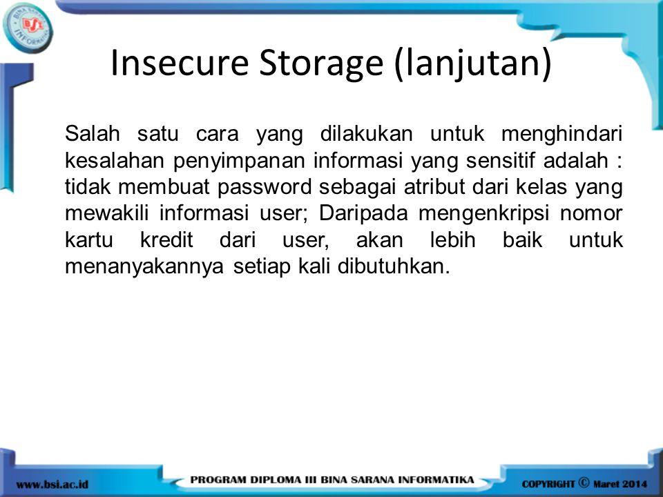 Insecure Storage (lanjutan)