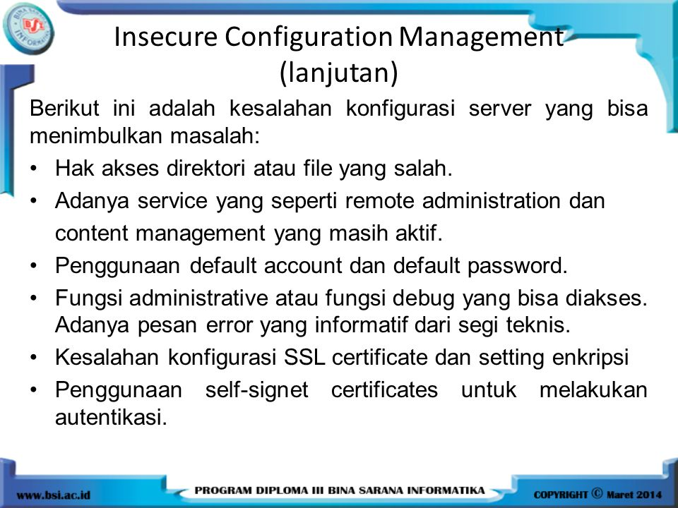 Insecure Configuration Management (lanjutan)