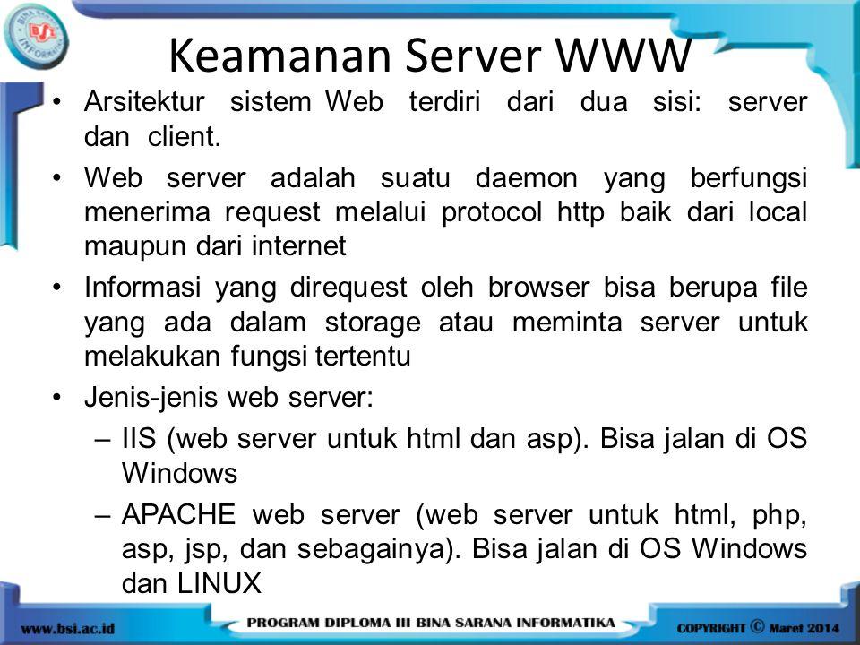 Keamanan Server WWW Arsitektur sistem Web terdiri dari dua sisi: server dan client.