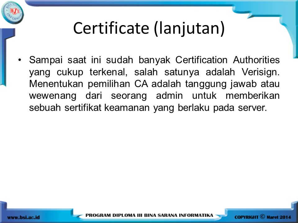 Certificate (lanjutan)