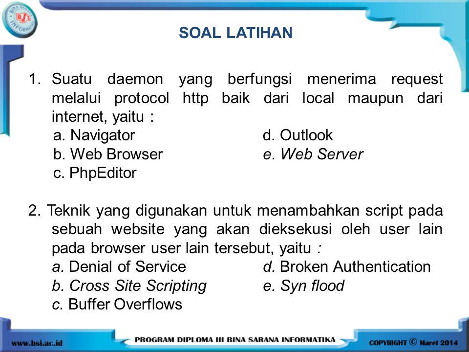 SOAL LATIHAN 1. Suatu daemon yang berfungsi menerima request melalui protocol http baik dari local maupun dari internet, yaitu :