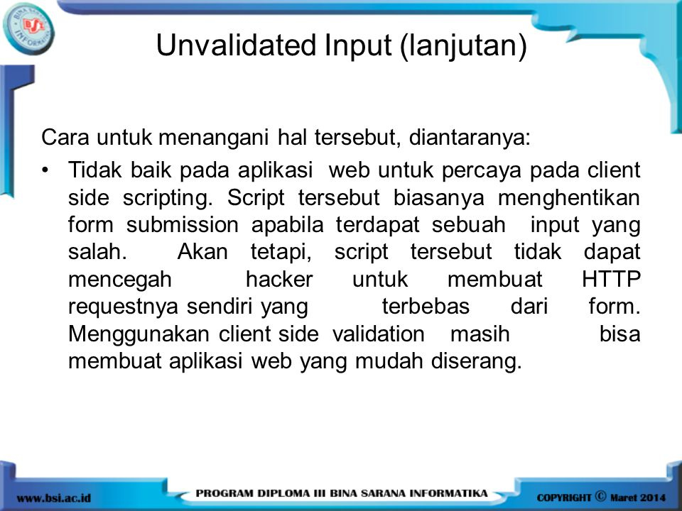 Unvalidated Input (lanjutan)