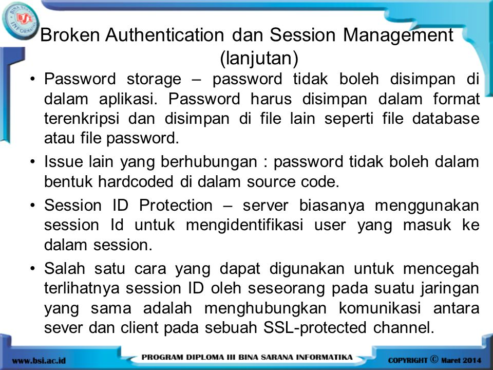 Broken Authentication dan Session Management (lanjutan)