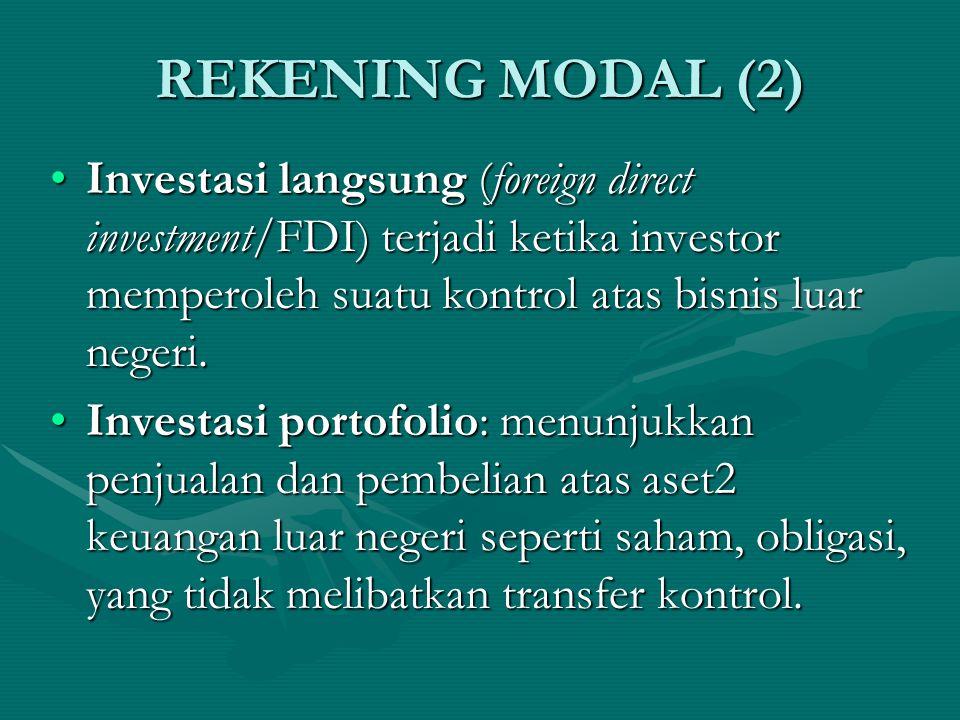 REKENING MODAL (2) Investasi langsung (foreign direct investment/FDI) terjadi ketika investor memperoleh suatu kontrol atas bisnis luar negeri.