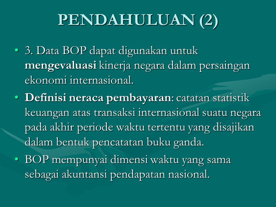 PENDAHULUAN (2) 3. Data BOP dapat digunakan untuk mengevaluasi kinerja negara dalam persaingan ekonomi internasional.
