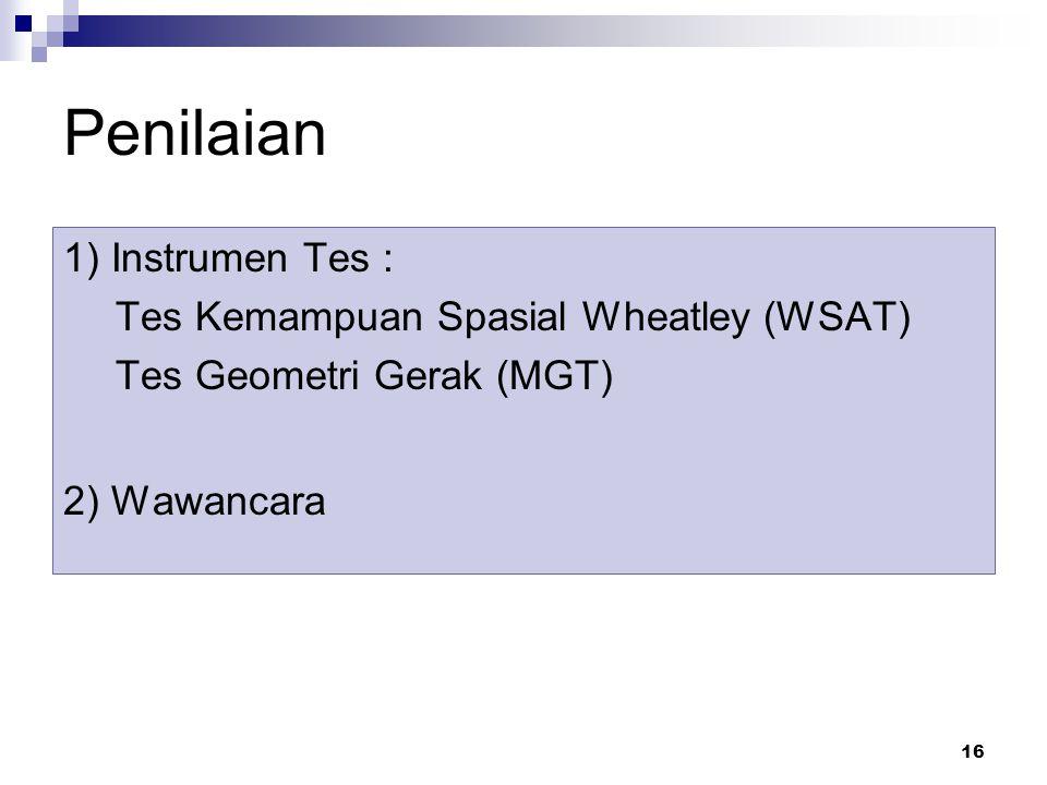 Penilaian 1) Instrumen Tes : Tes Kemampuan Spasial Wheatley (WSAT)