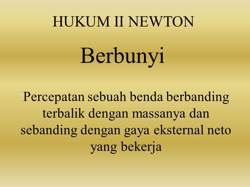 Berbunyi HUKUM II NEWTON
