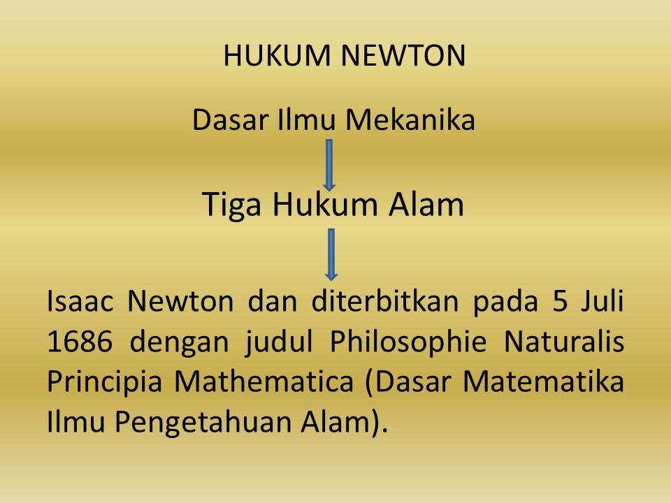 Tiga Hukum Alam HUKUM NEWTON Dasar Ilmu Mekanika