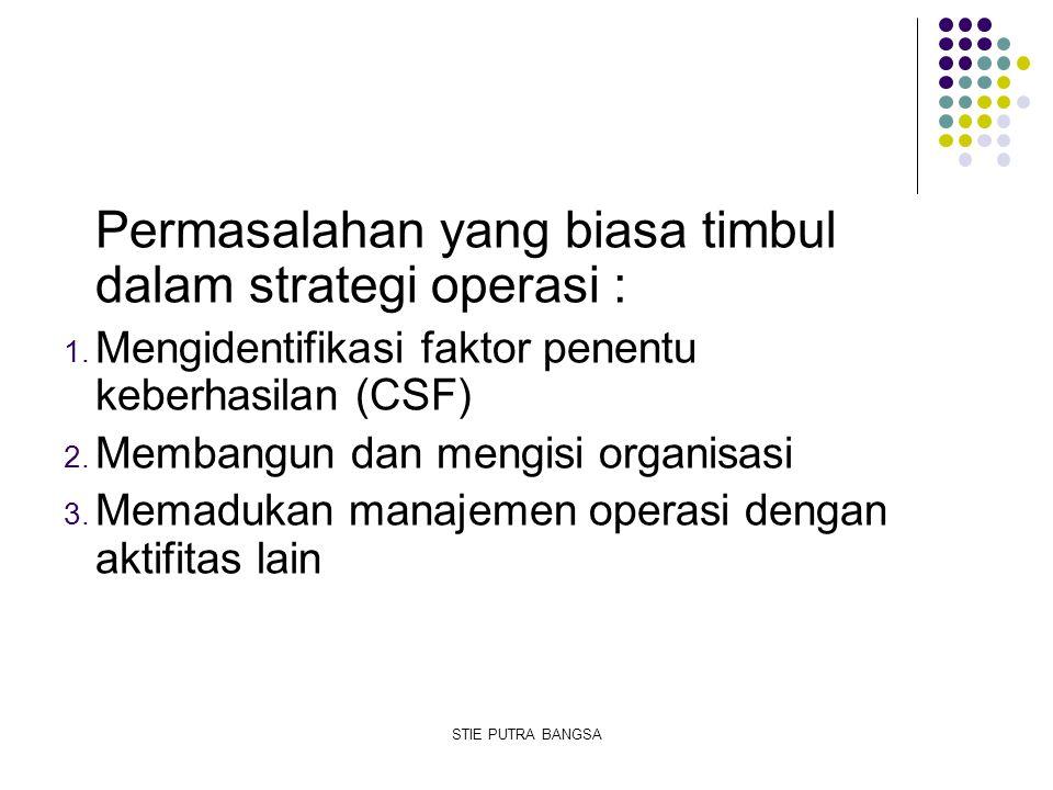 Permasalahan yang biasa timbul dalam strategi operasi :