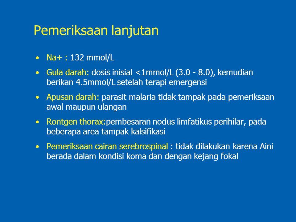 Pemeriksaan lanjutan Na+ : 132 mmol/L