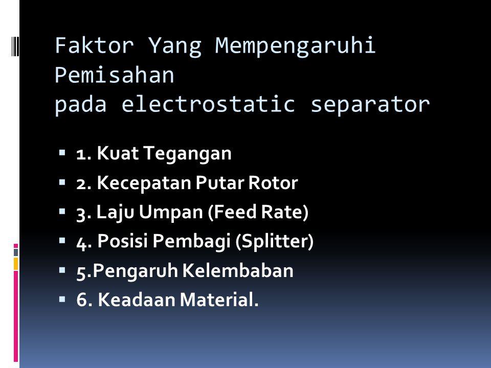 Faktor Yang Mempengaruhi Pemisahan pada electrostatic separator