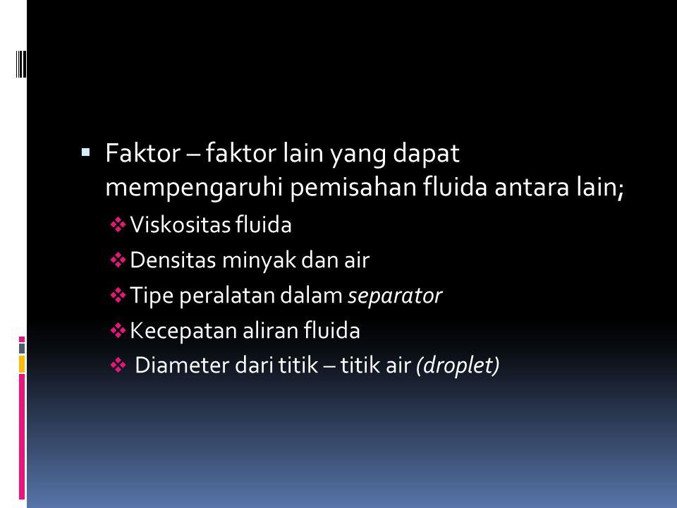 Faktor – faktor lain yang dapat mempengaruhi pemisahan fluida antara lain;