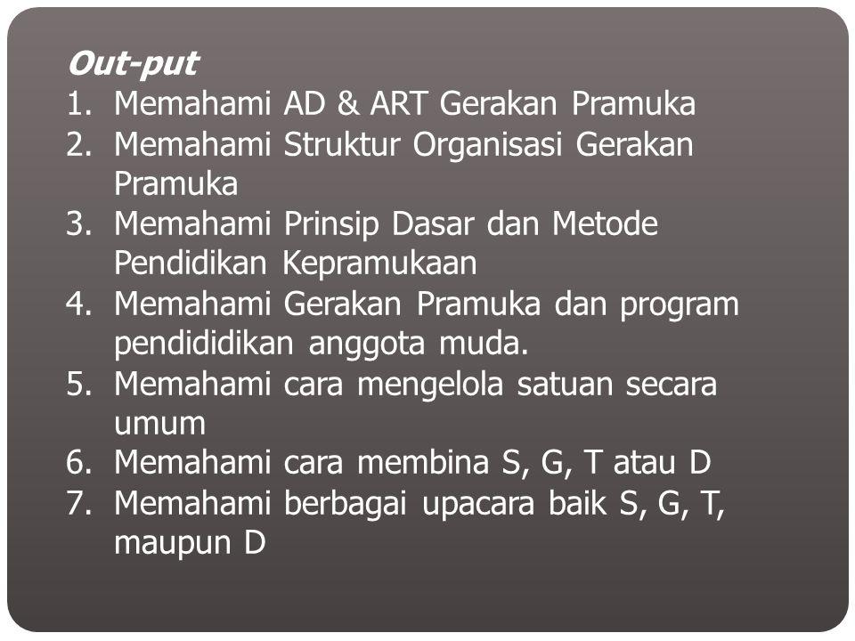 Out-put Memahami AD & ART Gerakan Pramuka. Memahami Struktur Organisasi Gerakan Pramuka. Memahami Prinsip Dasar dan Metode Pendidikan Kepramukaan.