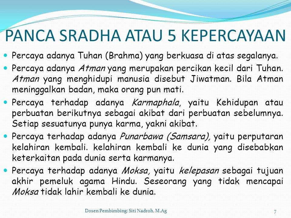 PANCA SRADHA ATAU 5 KEPERCAYAAN