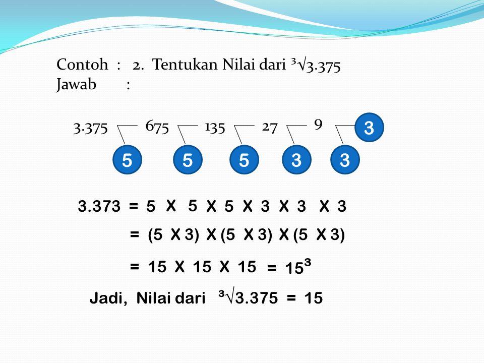 3 5 5 5 3 3 Contoh : 2. Tentukan Nilai dari ³√3.375 Jawab : 9 3.375