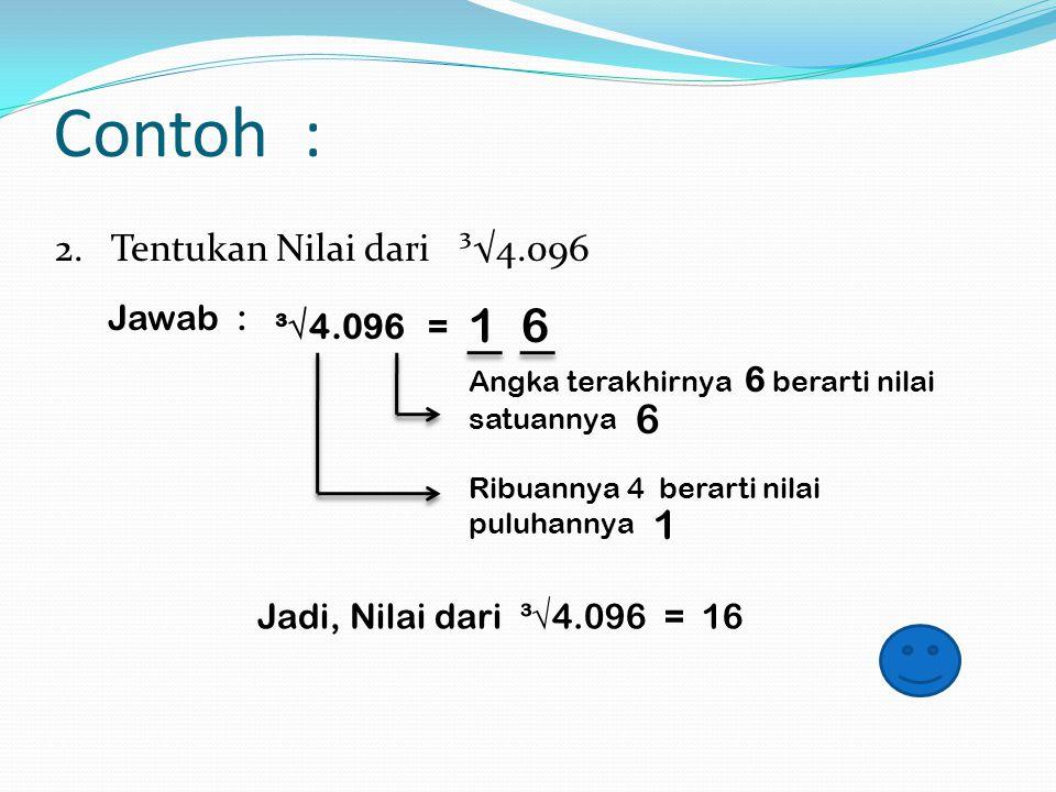 Contoh : 1 6 6 1 2. Tentukan Nilai dari ³√4.096 Jawab : ³√4.096 =