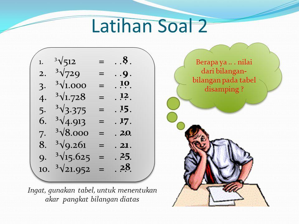 Latihan Soal 2 8 ³√729 = . . . . ³√1.000 = . . . . 9 ³√1.728 = . . . .