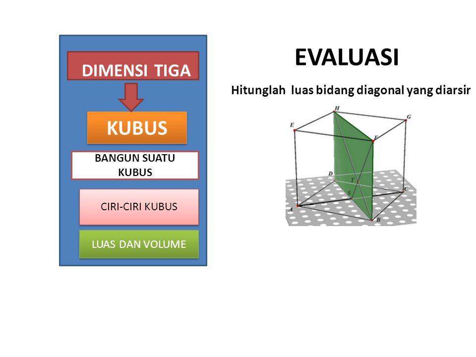 EVALUASI Hitunglah luas bidang diagonal yang diarsir