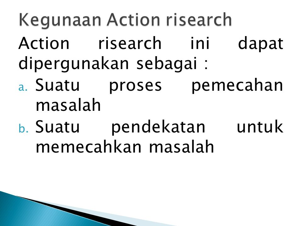 Kegunaan Action risearch