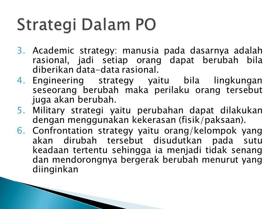 Strategi Dalam PO Academic strategy: manusia pada dasarnya adalah rasional, jadi setiap orang dapat berubah bila diberikan data-data rasional.