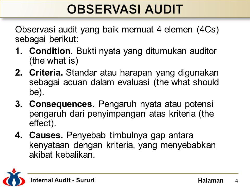 OBSERVASI AUDIT Observasi audit yang baik memuat 4 elemen (4Cs) sebagai berikut: Condition. Bukti nyata yang ditumukan auditor (the what is)