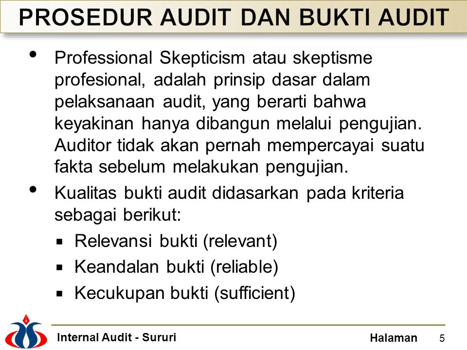 PROSEDUR AUDIT DAN BUKTI AUDIT