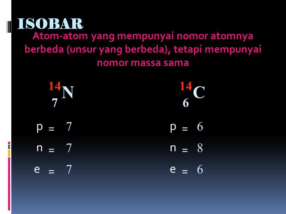 N C ISOBAR 14 14 7 6 p p = 7 = 6 n n = 7 = 8 e e = 7 = 6
