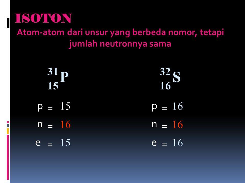 Atom-atom dari unsur yang berbeda nomor, tetapi jumlah neutronnya sama