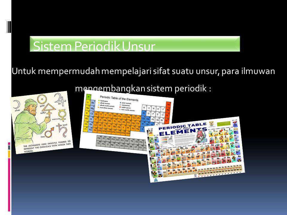 Sistem Periodik Unsur Untuk mempermudah mempelajari sifat suatu unsur, para ilmuwan.