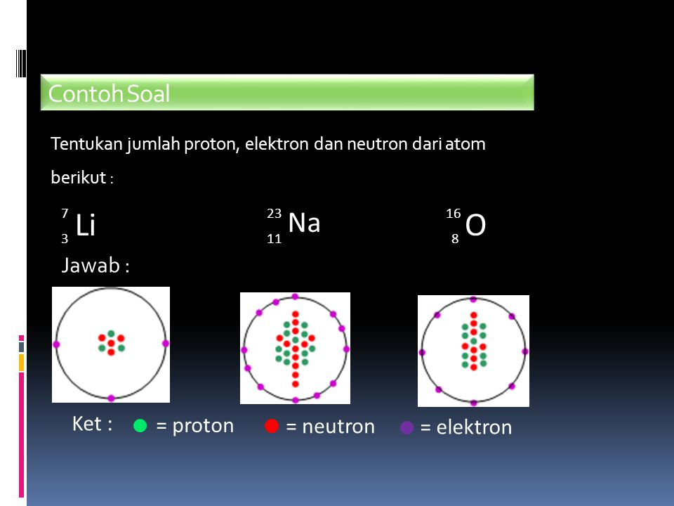 Li O Na Contoh Soal Jawab : Ket : = proton = neutron = elektron