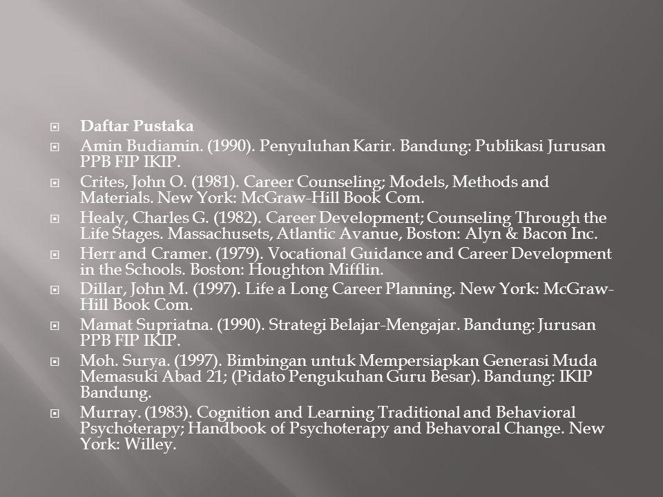 Daftar Pustaka Amin Budiamin. (1990). Penyuluhan Karir. Bandung: Publikasi Jurusan PPB FIP IKIP.
