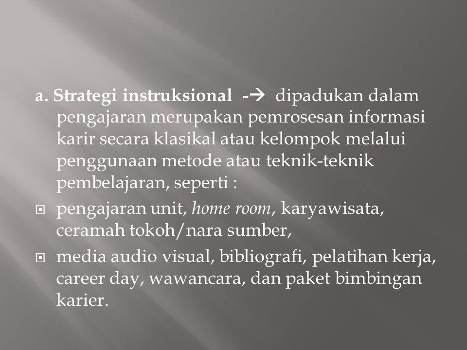 a. Strategi instruksional - dipadukan dalam pengajaran merupakan pemrosesan informasi karir secara klasikal atau kelompok melalui penggunaan metode atau teknik-teknik pembelajaran, seperti :