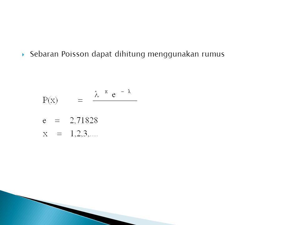 Sebaran Poisson dapat dihitung menggunakan rumus