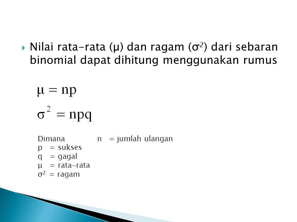 Nilai rata-rata (µ) dan ragam (σ2) dari sebaran binomial dapat dihitung menggunakan rumus