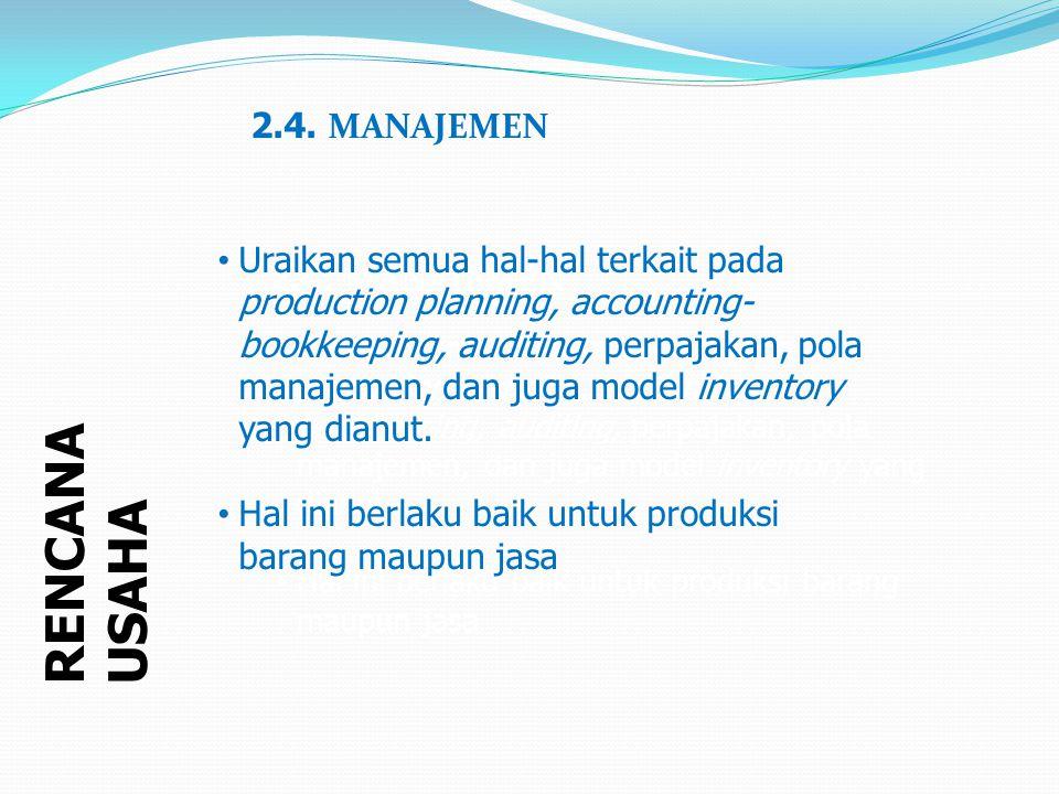 RENCANA USAHA 2.4. MANAJEMEN