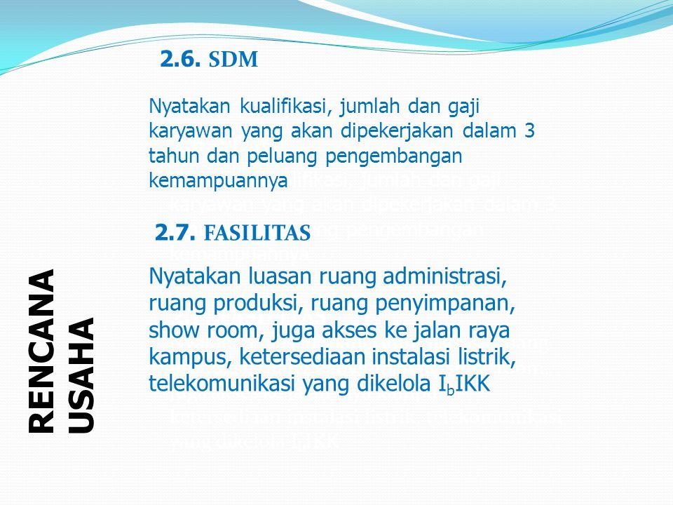 RENCANA USAHA 2.6. SDM 2.6. SDM 2.7. FASILITAS