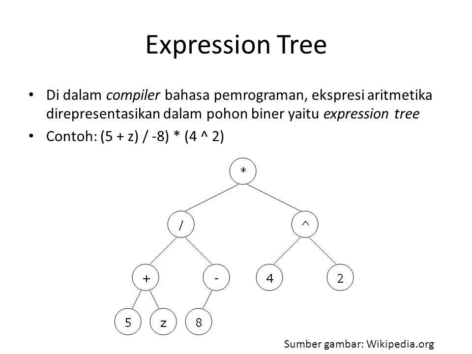 Expression Tree Di dalam compiler bahasa pemrograman, ekspresi aritmetika direpresentasikan dalam pohon biner yaitu expression tree.