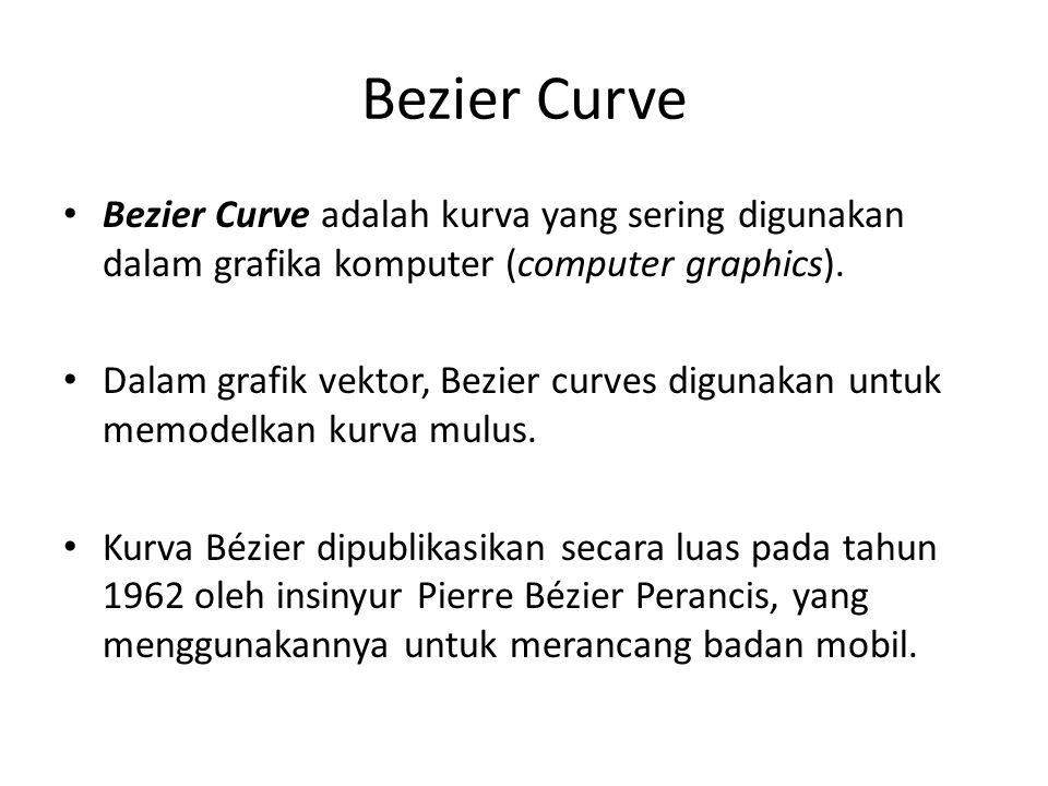 Bezier Curve Bezier Curve adalah kurva yang sering digunakan dalam grafika komputer (computer graphics).
