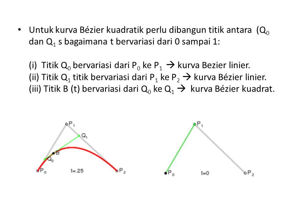Untuk kurva Bézier kuadratik perlu dibangun titik antara (Q0 dan Q1 s bagaimana t bervariasi dari 0 sampai 1: (i) Titik Q0 bervariasi dari P0 ke P1  kurva Bezier linier.