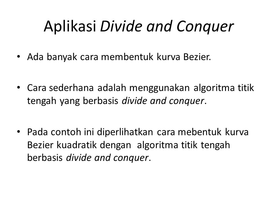 Aplikasi Divide and Conquer